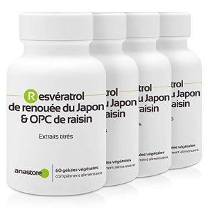 Resvératrol & OPC de raisin * PACK 3+1 GRATUIT * 60 mg / 240 gélules * Titré à 95% en proanthocyanidines et à 50% en resvératrol * Antioxydants, Cardiovasculaire (circulation), Prostate. (ANASTORE BIO, neuf)
