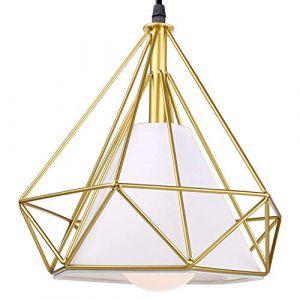 STOEX Suspension Industrielle 25cm Lustre Abat-Jour en Fer Forme Diamant Plafonnier Luminaire Doré (STOEX, neuf)