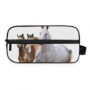 Deziro Trousse de toilette portable pour femme et fille Motif chevaux en course à pied (LuPINZ, neuf)