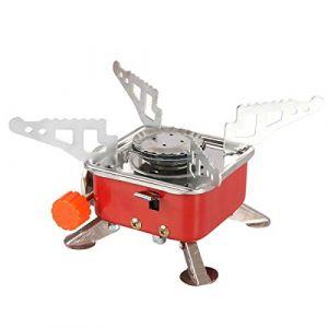 Qdreclod Réchauds de Camping à Gaz Portable Brûleur de Cuisinière Pliable Ultra-léger Poele Coupe-Vent avec Allumage Piezo Extérieur pour Pique-Nique Barbecue, Randonnée (Qdreclod, neuf)