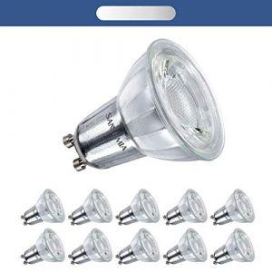Sanlumia | 7W LED Spot Culot GU10 | Dimmable | 650LM | équivaut 75W halogène | Blanc Froid 6400K | LED Light Lampe |38° Larges Angle de Faisceau | Finition Verre | Lot de 10 Ampoules (Sanlumia, neuf)