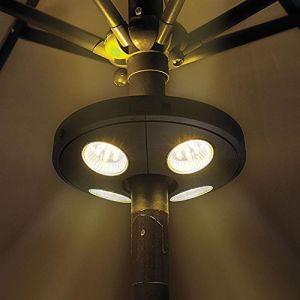 Lampe Parasol, KT SUPPLY Lumineux de Parapluie Sans Fil 24 LED Rechargeable Lumière Lanterne Eclairage Extérieur de Jardin pour Terrasse Jardin Grand Parapluie Tente de Camping Patio (KT SUPPLY, neuf)