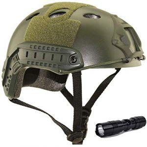 QMFIVE Casque Tactique Le Casque PJ avec Les Lunettes SWAT De Protection pour Combat CQB Airsoft Comdat Paintball (Vert+L) (QMFIVE, neuf)