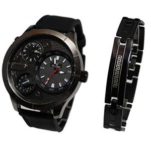 MONTRE HOMME GROS CADRAN XXL DOUBLE AFFICHAGE ONLY THE BRAVE PLUS GOURMETTE CH26 (MONTRE-STYLE, neuf)