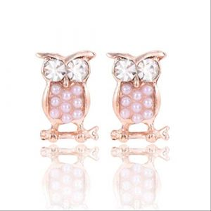 Épingles d'oreille cristal boucles d'oreilles femmes Stud boucle d'oreille strass hibou élégant N perle boucles d'oreilles femme longuee0141pearl (Graceguoer, neuf)