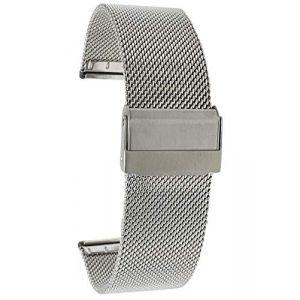 Bandini 24mm Bracelet de Montre Maille en Acier Inoxydable pour Homme, Ton Argent, Bracelet Montre de Remplacement en Maille métallique Fine - Longueur Ajustable (Shoptictoc., neuf)