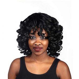 FENGXONG Ombre Noir Perruque Bangs Sluttish Vague Naturelle À Longue Vue Perdu Perruques Frisées for Les Femmes Cosplay Partie Cheveux (Couleur : Noir) (julytwelve, neuf)