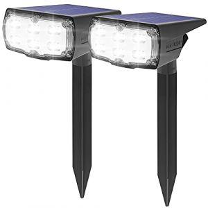 36 LED Spot Solaire Extérieur, GOLUMUP Lampe Solaire Etanche IP67, Projecteur Solaire Exterieur 860LM avec 2 Modes d'Éclairage pour Jardin, Cour, Allée, Chemin, Trottoir, Terrasse, 2 Pack (KAIYING SHOP, neuf)