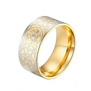 PAMTIER Bague Or Cru Acier Inoxydable Hommes Chinois Ancien 4 Gardien Bêtes Sceau Band Taille 66 (Brand PAMTIER, neuf)