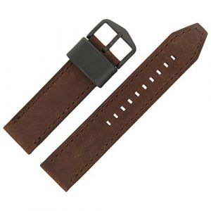 Bracelet montre fossile 22 mm en cuir marron - Bracelet de montre FS-4656 (Starlabels, neuf)