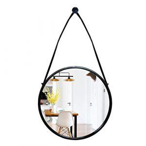 Miroir mural en fer forgé, miroir de salle de bains noir, miroir rond suspendu (taille: 70 * 88.5cm) (Xianmin, neuf)