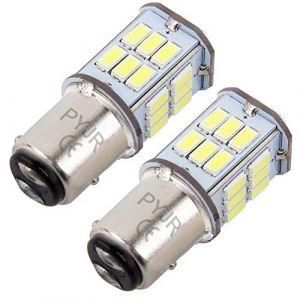 BAY15D 1157 p21w led feu stop, 5W DC10-30V Lumière blanc, pour Moto, RV, Auto Voiture, feux de jours, etc (Lot de 2) (PYJR, neuf)