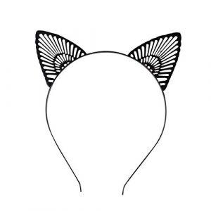 Lurrose Oreille de chat bandeau oreille oreille animale cerceau de cheveux Accessoires de cheveux mignons pour les filles enfants (Noir) (Veronicoar, neuf)