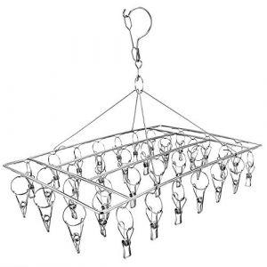 Skroad Etendoir Chaussette, Étendoir à Linge à Suspendre avec 36 Pinces en Acier Inoxydable à l'épreuve du Vent pour Chaussettes,sous-vêtements,vêtements,Serviettes (1 Pack Hanger) (O-first, neuf)
