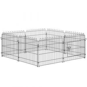 Parc enclos pour chiens chiots animaux domestiques diamètre 158cm 8 panneaux 71L x 61Hcm noir neuf 25 (Aosom fr, neuf)