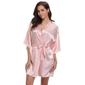 Aibrou Peignoir Satin Femme Robe de Chambre Kimono Femmes Sortie de Bain Nuisette Déshabillé Couleur Pure Vêtements de Nuit pour la Fête Mariage (M: épaule 57cm, Buste 114cm, Rose) (Aibrou Direct, neuf)