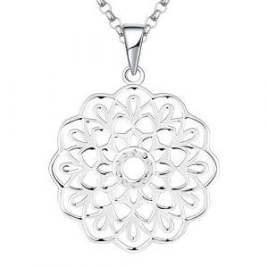 JO WISDOM Collier Mandala Argent 925/1000 Femme, Pendentif Fleur de Vie Yoga Bijoux pour Femmes (couleur or blanc) (JO WISDOM, neuf)