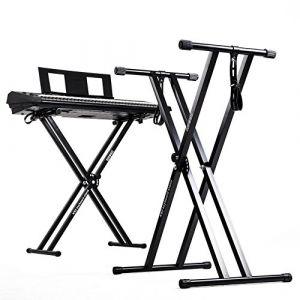 Duronic KS2B Support pour synthétiseur / clavier avec vis et sangles de fixation –Hauteur réglable - Léger – Supporte 30 kg (DURONIC, neuf)