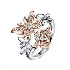 KEATTL Bague Femme,De Luxe Or Rose Et d'Argent Cristal Double Papillon Mariée Anneau Fête De Mariage Bijoux Accessoires (7, Argent) (KEATTL, neuf)