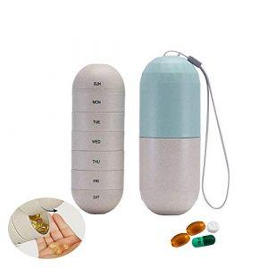 YUEMING Pilulier Semainier,Pilulier 7 Jours Pilulier Pillbox,Pilulier Hebdomadaire,Medication Dispenser,Médicament Pilule Organisateur De Poche Étui Étanche À L'humidité (B) (YUEMING, neuf)