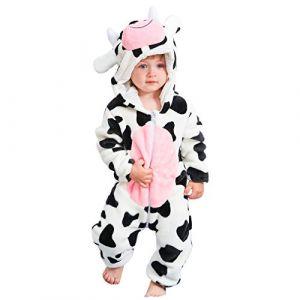 MICHLEY Unisexe Grenouillères Combinaison Bébé Barboteuses Manteau à Capuche Enfants Pyjama Jumpsuit pour Garçon et Fille, Vache, 6-12 Mois (FASHIONROMPER, neuf)