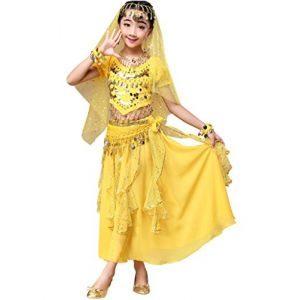 Astage Déguisement Indien Bollywood Oriental Costume Carnaval Halloween Jaunelarge (Dance voice, neuf)