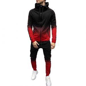 Survêtements Homme Vêtements,Ensemble Survetement Homme Sport Survêtement Hommes Sweat-Shirt a Capuche Pantalon de Survetement Dégradé Impression Zippe Jogging Automne Hiver Youngii(Rouge A,XL) (Aibi, neuf)