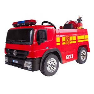 PLAY4FUN Camion de Pompier Electrique Rouge 35W pour Enfant avec Casque, Lance et Extincteur, Indicateur de Batterie, Ceinture de sécurité et Télécommande Parentale (Outside Fun, neuf)