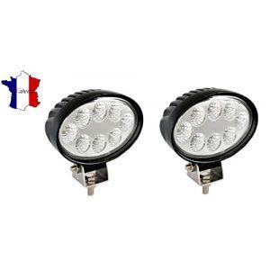 2 X 24W 12V 24V LED PHARE LAMPE OVALE DE TRAVAIL LAMPE POUR VEHICULE DE CONSTRUCTION TRACTEUR CAMION REMORQUE LAMPE (ivatech, neuf)