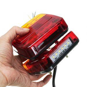 2 PCS LED Lumière Arrière Queue Feu De Frein Stop Lumière Clignotant Numéro Plaque Lampe Pour Remorque Camion Véhicule Récréatif (Couleur: Rouge + Ambre + Noir) (banbie8409, neuf)