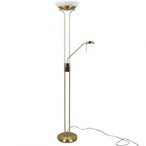 Denise Lampadaire LED à intensité variable avec lampe de lecture (1ampoule, A +, ampoule incluse) Lampe von Welt | Plafonnier LED Projecteur, lampe sur pied, lampadaire, (Lampenwelt, neuf)