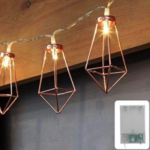 Guirlande lumineuse LED lampe deco guirlande lumineuse géométrique forme Diamant - Style scandinave CozyHome | Longueur totale 4 mètres | 10 LED blanc - 3x AA Batterie | de CozyHome (LEHARO, neuf)