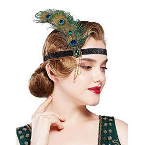 Coucoland Serre-tête avec plumes de paon des années 1920 et chaîne - Accessoire de déguisement Gatsby le Magnifique - Vert paon (Coucoland, neuf)