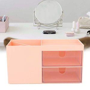 Boîte à bijoux en plastique de conteneur organisateur de boîte de rangement papeterie pour cosmétique(Pink) (Aufeeiu, neuf)