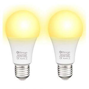 Ampoules Capteur de Crépuscule, LED Lampe Detecteur Crepusculaire 10W E27 Blanc Chaud 3000K On/Off Automatique pour Garage Couloir Jardin Escaliers Lot de 2 (Etrogo, neuf)
