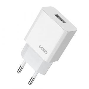 BERLS USB Chargeur, Universel Mural Secteur Adaptateur USB 1 Port (5V 2000mA) pour Samsung Galaxy S7 S8 S9, iPhone 5 6 7 8 X Max, Wiko, iPad, LG, HTC, Huawei, Xiaomi, ASUS, Nexus(Blanc) (Chargeur) (BERLS, neuf)