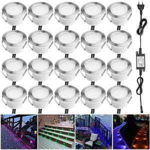 Lampe au Sol Spot Encastrable-Lumière réglable(RGB) étanche IP67 Ø45mm-éclairage pour terrasse, patio, chemin, mur, jardin, décoration, intérieur et extérieur(Lot de 20) (INDARUN-EU, neuf)