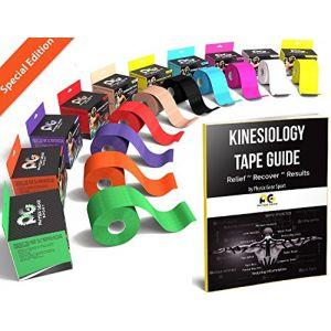 Physix Gear Kinésiologie Tape imperméable, Bandage Médical, Strap en complément de l'Attelle Cheville, K Tape de Strapping sur Les Muscles, Bande de Kinésiologie (1 Bande Orange 5cm x 5m + e-Guide) (Physix Gear, neuf)