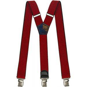 Bretelles Y entièrement réglable pour Homme Femme 4 cm avec 3 clips élastique Solide Casual Pantalon Jeans Différentes couleurs, Rouge, Lange (Decalen France, neuf)