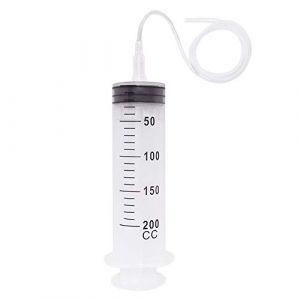 NACTECH Seringue 200ml en Plastique Seringue avec Tuyau 80cm Seringue a Huile Seringue Grand Volume 200cc Réutilisable pour Alimentaire Liquide D'huile Frein Moteur (NACTECHEU, neuf)