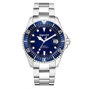 Gigandet SEA GROUND® Montre Homme Automatique Plongée Analogique Bleu Argent G2-009 (MTRSHOP24, neuf)