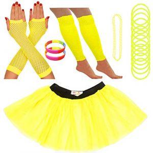 Redstar Fancy Dress - Tutu/guêtres/Mitaines résille/Collier de Perles/Bracelets en Caoutchouc/Bracelets Fluo - Jaune - 42-50 (Redstar Online, neuf)
