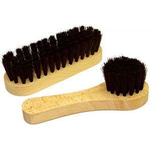 DELARA Une petite brosse à chaussures et une petite brosse à cirage en poils naturels, couleur: noir (DELARA, neuf)