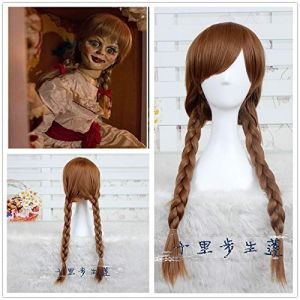 ACBIC poupée Annabelle Cosplay perruque 65 cm brun droit synthétique cheveux Perucas Cosplay perruque la conjuration Cosplay fille chapeaux Halloween (haoxincaiwufuwuy, neuf)