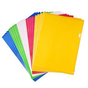 Chemises Plastique A4,Couverture de Fichier 20 Pack A4 Cut Flush Folders Transparent Pochette Porte Document Dossier Pochette pour Fournitures de Bureau (MUCHEN SHOP, neuf)