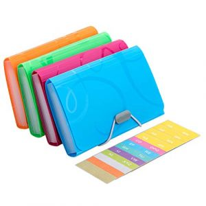 Trieur Extensible Petit Portable A6 Taille 13 Pochettes Organisateur de document Multicolore Plastique Accordéon Trieur Classeur de Documents Porte-documents Wallet Portefeuille Expanding File Folder (Vidillo, neuf)