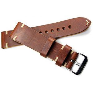 Bracelet en cuir 22mm Rios fait main couture blanche 22/20mm bande aspect rétro marron Top Qualité (Sammlerparadies, neuf)