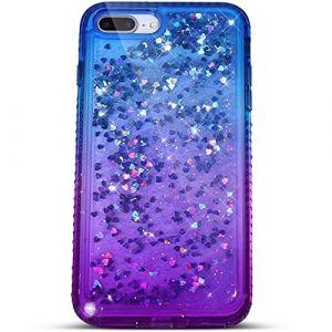 Felfy Compatible avec Coque iPhone 8 Plus Liquide Paillette,Compatible avec iPhone 8 Plus Coque Transparente Silicone TPU 3D Glitter Quicksand Strass Étui Housse Bumper Cover Case,Bleu Violet (Okssud, neuf)