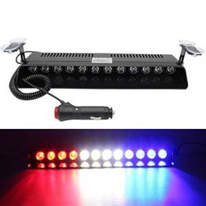 Viktion 12W 12 LEDs Feux de Pénétration Lumière Stroboscopique Eclairage Clignotant à 13 Modes pour Voiture Camion véhicule SUV DC12V (Rouge & Bleu & Blanc) (Touch Direct, neuf)