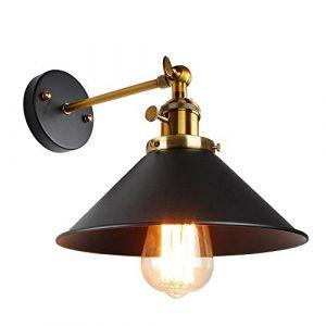 Applique Murale Vintage Industrielle Réglable Lampe Murale Industriel Noir en Métal Plafonnier Luminaire Rétro Applique Interieur pour Chambre, Cuisine, Restaurant, Couloir, Café, Bar (RISERVA, neuf)